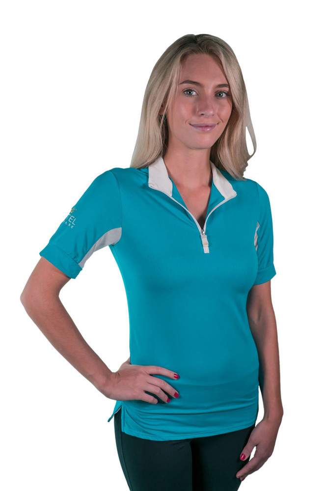 Charlotte Signature Short Sleeve Teal with White Trim