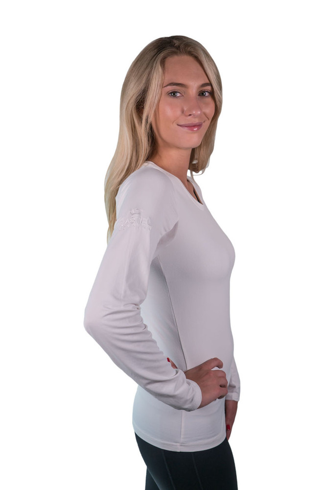 Charlotte Basics Collection Long Sleeve Crew Neck White with White Trim