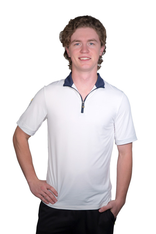 Henrik Men's UV Short Sleeve Shirt White with Navy Trim