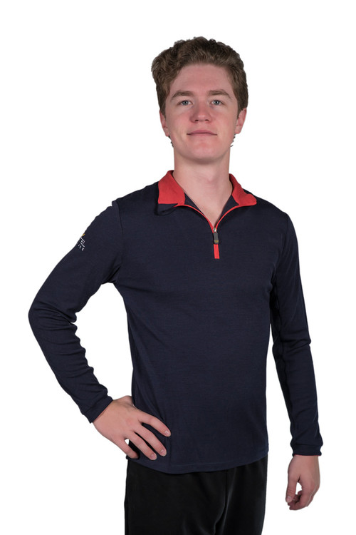 Henrik Men's Merino Wool Collection Navy with RedTrim