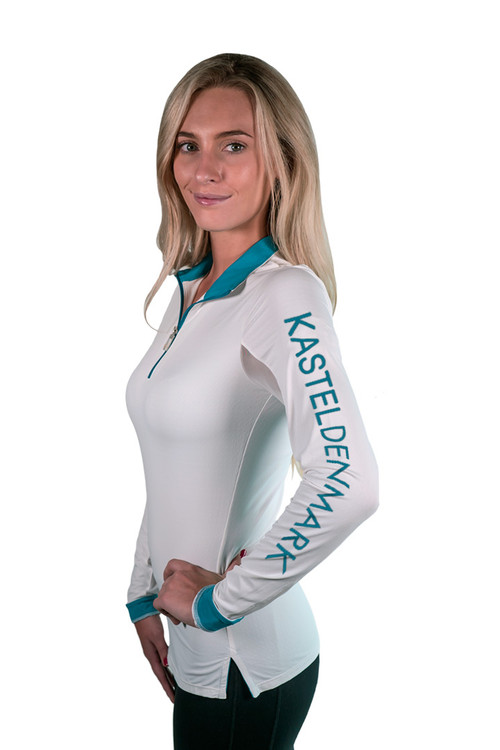 Charlotte Studio Collection Logo Shirt White with Teal