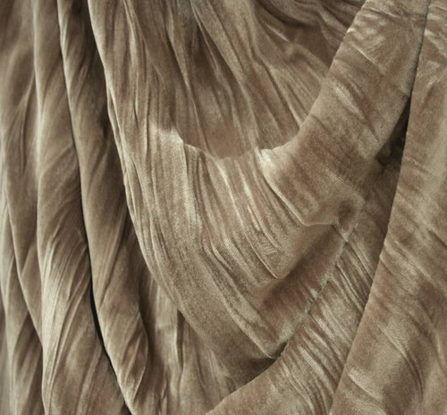 """Stretch Velvet Crushed Pleated Dirty Grey Width 48/50"""""""
