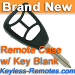Keyless Entry Remote Key Replacement Case for Dodge Chrysler Jeep w/ Key Blank