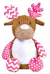 Cubbie Embroidered Harlequin Pink Reindeer