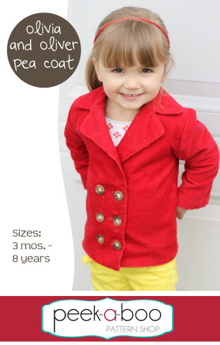 Olivia & Oliver Pea Coat PDF Sewing Pattern