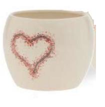 """Ceramic Heart Pot 4.5"""" white/red 4422 each"""