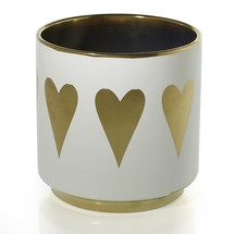 "Ceramic Spade Pot w/gold hearts 6.25"" each"