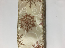#40 DWI ivory w/gold snowflakes 10yrds