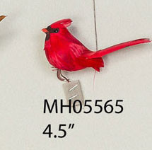 "Bird Cardinal 4.5"" red feather 1dz"