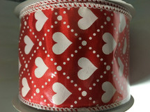 #40 red satn w/wht hearts 10yds