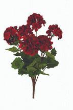 Silk geranium red bush x6 SB20