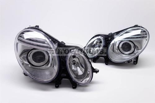 Headlights set chrome Mercedes E Class W211 S211 02-05