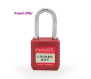 "Nylon safety lockout padlock 1-1/2""(40mm), Keyed Differ, Red"
