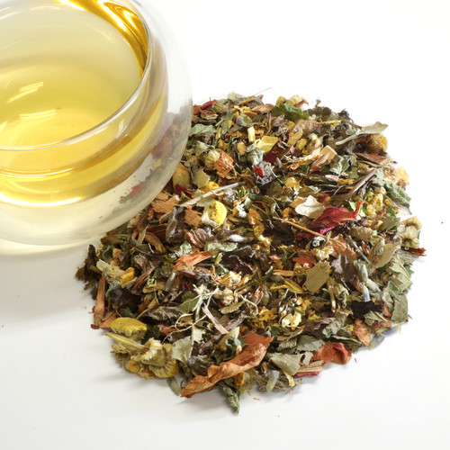 Headache Ease  Organic Wellness Herbal Tea (Willow, skullcap, licorice, rose, elderflower, lavender, lemon balm, lemon verbena, chamomile, peppermint, ginger) This blend is designed to soothe and relieve headaches and migraines. Organic