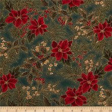 Poinsettia & Holly Metallic - 33001 - Evergreen 1/2 Metre Length