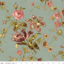 Isabella Blue Large Floral 1/2 Metre Length