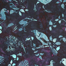 NZ BIRDS BALI - BLUE 1/2 Metre Length