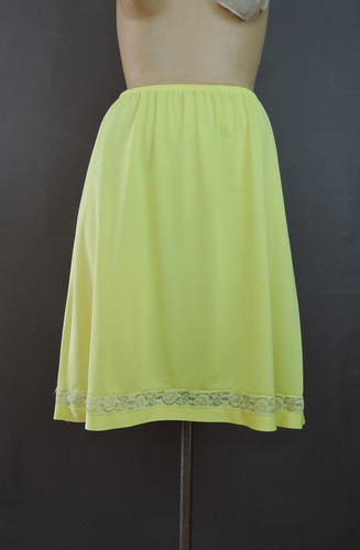 Vintage Yellow Nylon Half Slip, 25 to 30 inch waist, 1960s