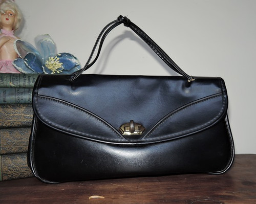 1960s Anita's Small Black Vinyl Purse