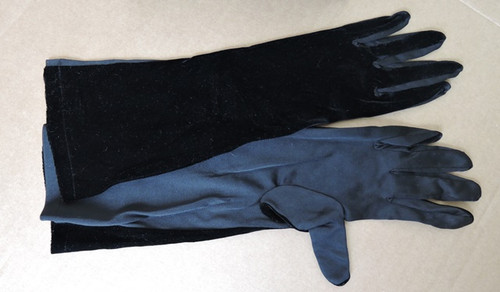 1960s  Long Black Velvet and Nylon Gloves, 15 inches long, size 7 to 7-1/2
