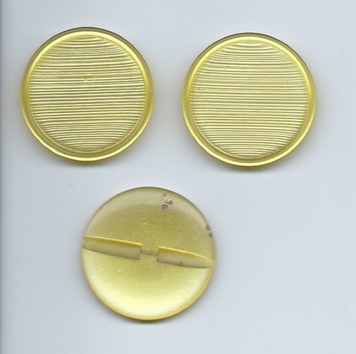 1960s Three Large Yellow Plastic Buttons