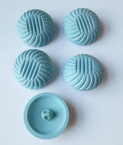 Set of 5 Light Blue Carved Plastic Buttons, 1960s