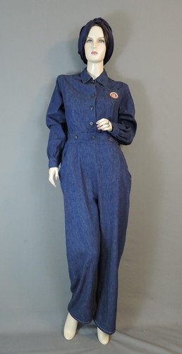 1940s Denim Coveralls WWII Workwear Uniform 36 38 bust Rosie the Riveter