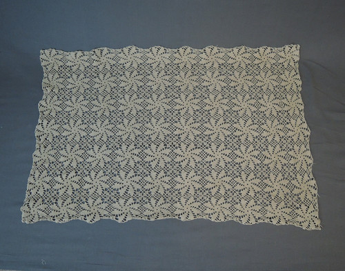 Crochet Runner for Table or Dresser - 38 x 25 inches, Vintage 1940s handmade Ecru