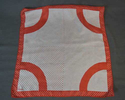 Red & White Polka Dot Vera Scarf, Vintage 1970s, 22 x 22 inches