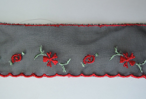 1950s  Black Chiffon Trim with Red Embroidered Flowers  4-1/2 yards