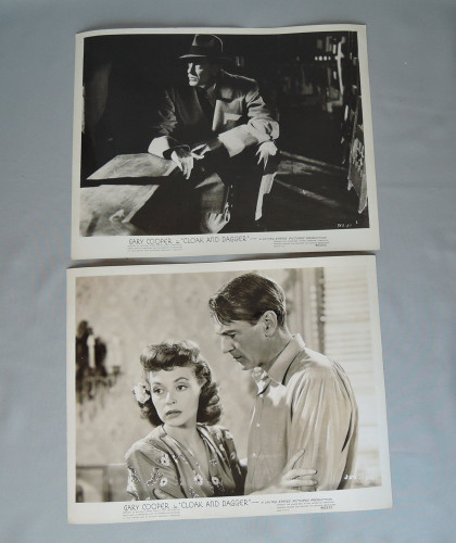 2 Gary Cooper Original Movie Publicity Stills from 'Cloak and Dagger'1946