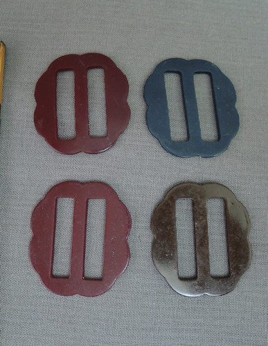 Lot of 4 Vintage Plastic Dress Buckles, Burgundy, Blue Brown, 1940s 1950s