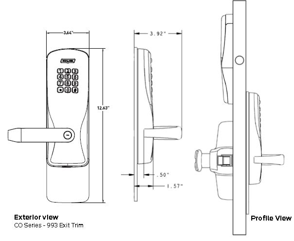 Exit Trim with Magnetic Stripe Swipe Locks | Schlage CO-250-993M-MS - Exit Mortise Lock | User Rights on Card