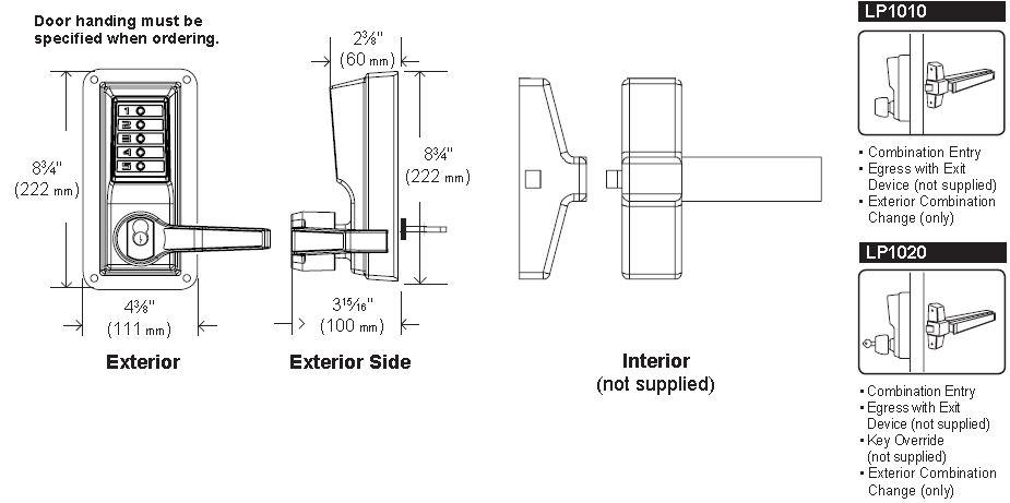 Simplex LLP1020-26D Mechanical Pushbutton Exit Trim