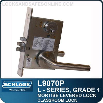 MORTISE LEVERED LOCKS GRADE 1 - Classroom Lock - Escutcheon Trim - Standard Collection Levers | Schlage L9070P/LV9070P