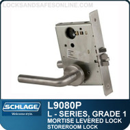 Schlage L9080P/LV9080P - GRADE 1 MORTISE LEVERED LOCK - Storeroom Lock - Escutcheon Trim - Standard Collection Levers
