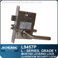 Schlage L9457P/LV9457P - GRADE 1 MORTISE LEVERED LOCK - Classroom Security with Deadbolt - Escutcheon Trim - Standard Collection Levers