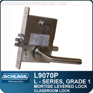 Schlage L9070P/LV9070P - GRADE 1 MORTISE LEVERED LOCK - Classroom Lock - Escutcheon Trim - M Collection Levers