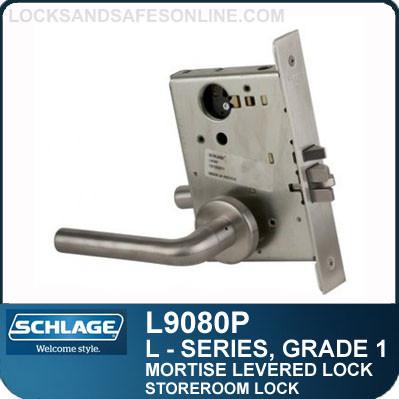 Storeroom Lock - Schlage L9080P/LV9080P - Grade1 Mortise Levered Locks   Escutcheon Trim - M Collection Levers
