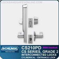 Schlage CS210PD - GRADE 2 CYLINDRICAL INTERCONNECTED LOCK - Entrance Lock (B500 Deadbolt)
