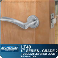 Schlage LT40 - Grade 2 Tubular Levered Lock - Privacy Lock
