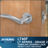 Schlage LT40F - Grade 2 Tubular Levered Lock - Privacy Lock, Fire Rated