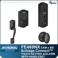 Schlage FE469NX-CAM-SIE - Camelot Style Schlage Connect™ and Handleset with Siena Knob and Built-in Alarm