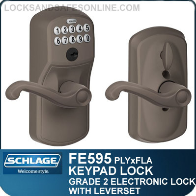 Schlage FE595-PLY-FLA - Plymouth Style Keypad Entry Lock Leverset with Flair Lever and Flex Lock Feature