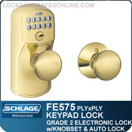 Schlage FE575-PLY-PLY - Plymouth Style Keypad Plymouth Knob with Auto Lock