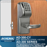 Networked Electronic Cylindrical Locks | Magnetic Stripe - Swipe + Keypad | Schlage AD-300-CY-MSK (SCH-AD300CYMSK)