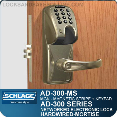 magnetic stripe keypad mortise lock schlage ad 300 ms mgk. Black Bedroom Furniture Sets. Home Design Ideas