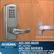 Schlage AD-300-993R - NETWORKED HARDWIRED EXIT TRIM - Exit Rim/Concealed Vertical Rod/Concealed Vertical Cable - Keypad Only