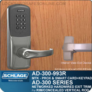 Schlage AD-300-993R - NETWORKED HARDWIRED EXIT TRIM - Exit Rim/Concealed Vertical Rod/Concealed Vertical Cable - Multi-Technology + Keypad | Proximity and Smart Card