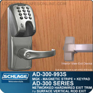 Schlage AD-300-993S - NETWORKED HARDWIRED EXIT TRIM - Exit Surface Vertical Rod - Magnetic Stripe (Insert) + Keypad